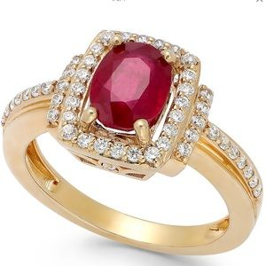 Ruby and Diamond Ring in 14k Rose Gold in EUC
